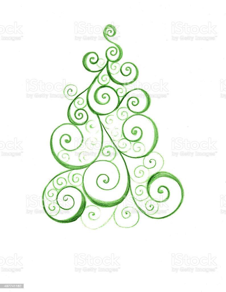 Stilizzato con decorazioni albero di Natale colorato floreale ricciolo di carta saluti illustrazione royalty-free