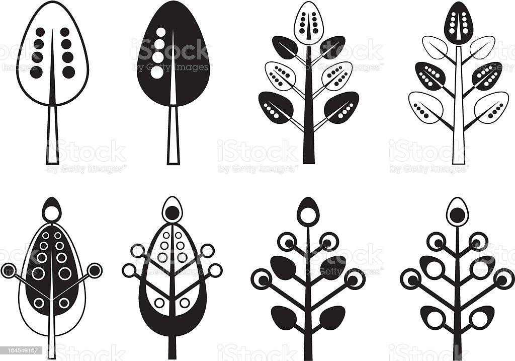 Stylized Leaf Icon Set royalty-free stock vector art