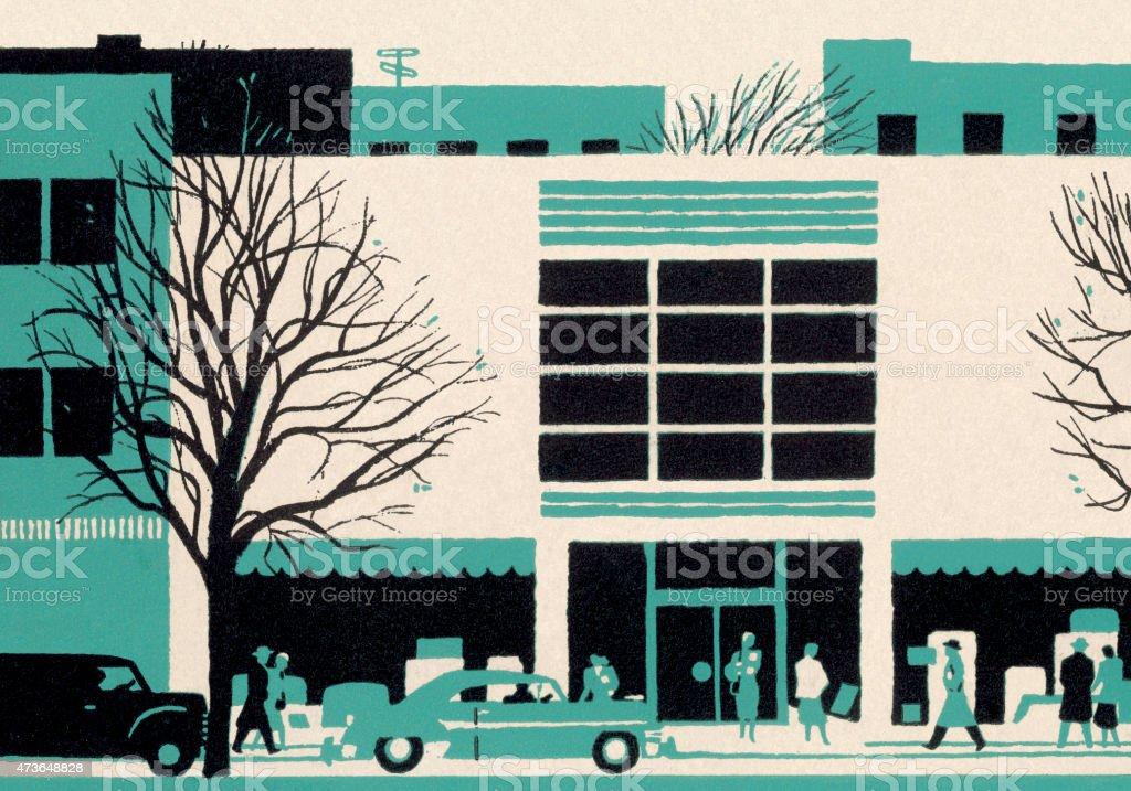 Stylized Street Scene vector art illustration