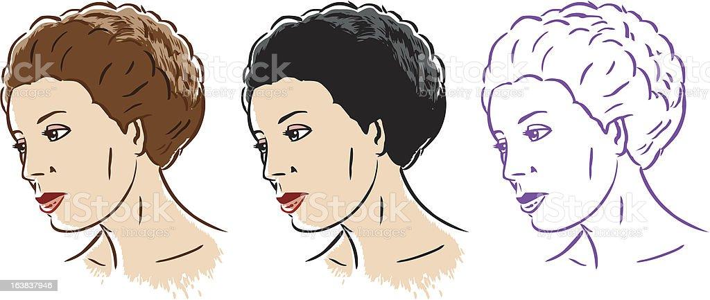Stylized woman in 3 styles vector art illustration