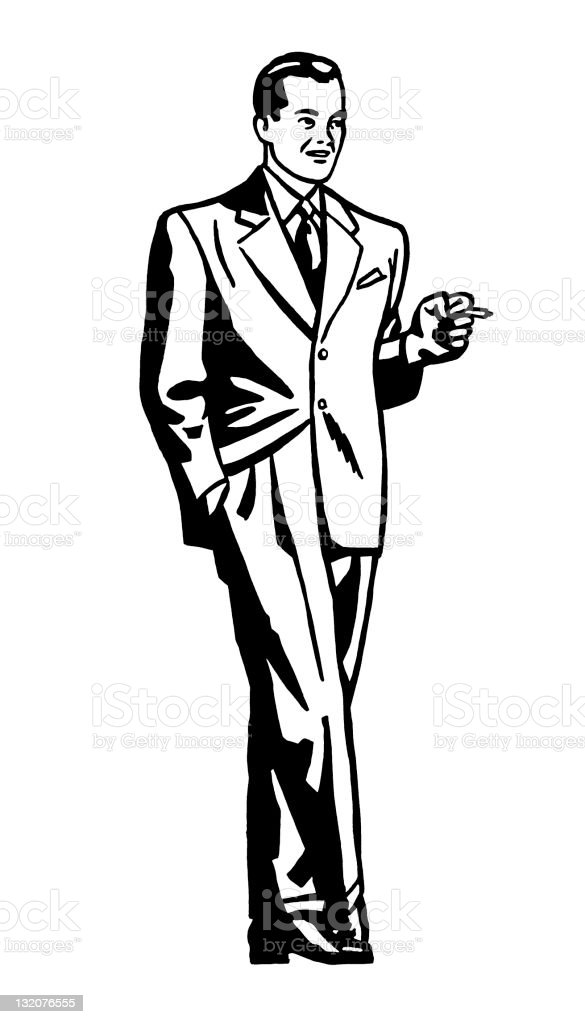 Suave Man Smoking vector art illustration