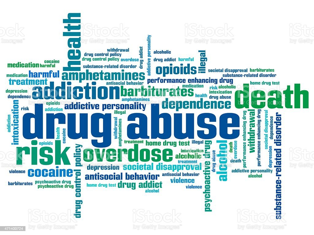 Substance abuse word cloud colors vector art illustration