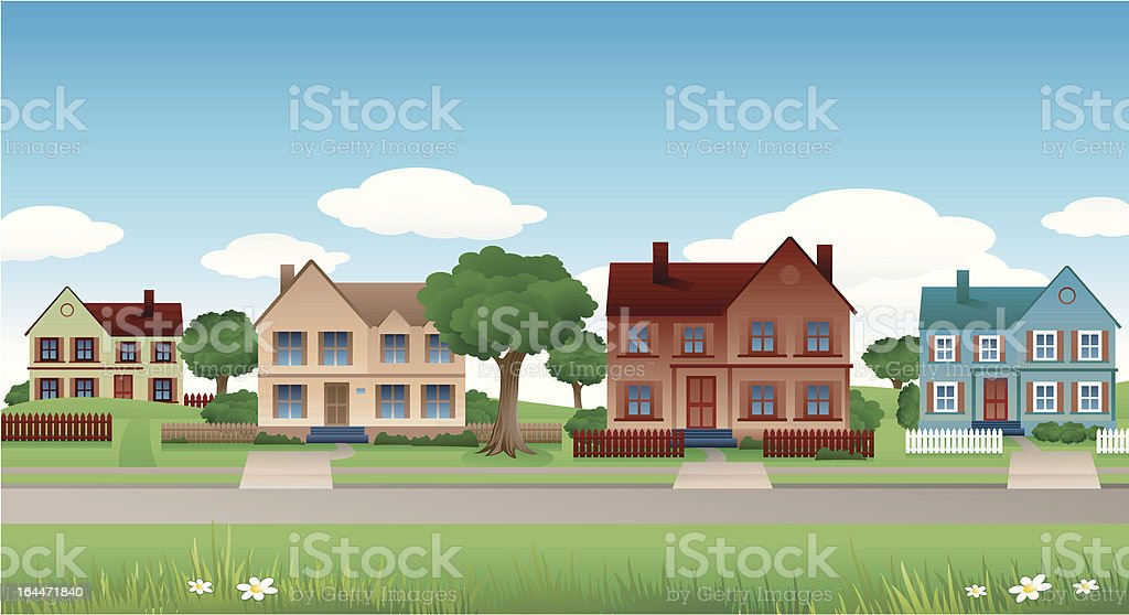 Suburban background vector art illustration