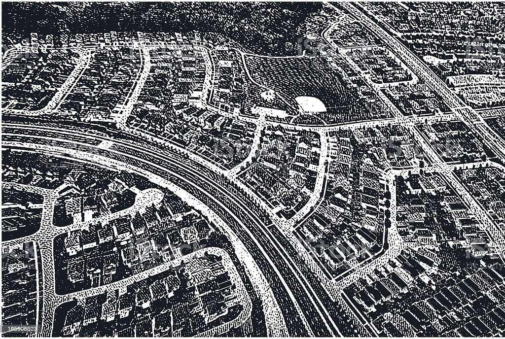 Suburbs – Airial View royalty-free stock vector art
