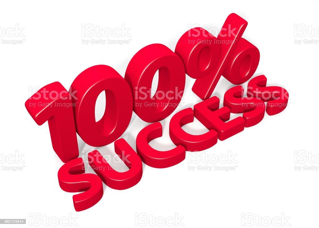 100% Success. 3d Illustration vector art illustration