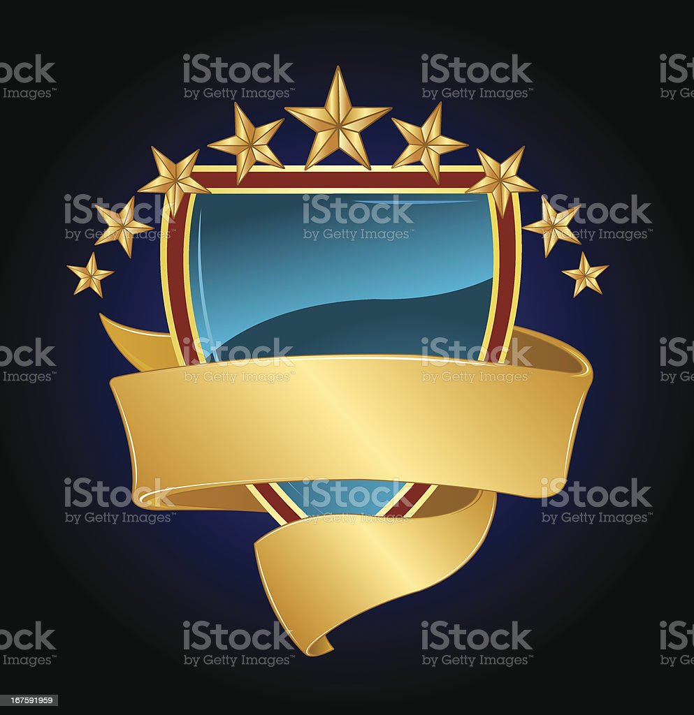 Success - Stars, Shield and Banner Background royalty-free stock vector art