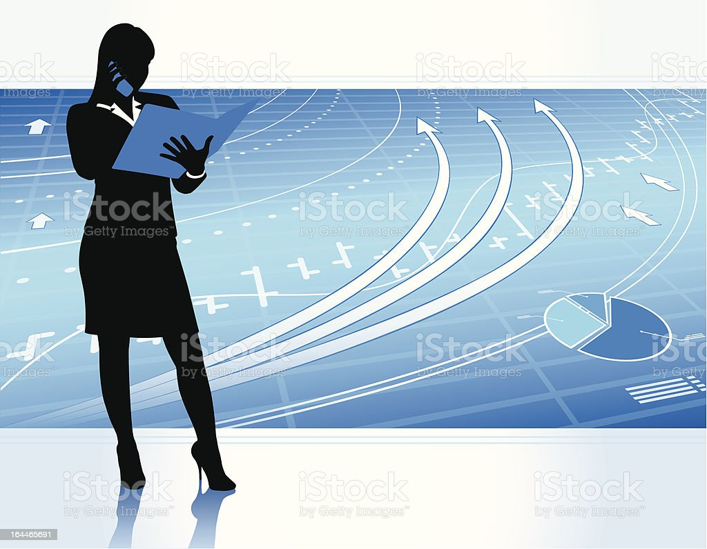 Successful businesswoman vector art illustration