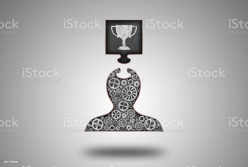 Successful Winner Blackboard Concept vector art illustration