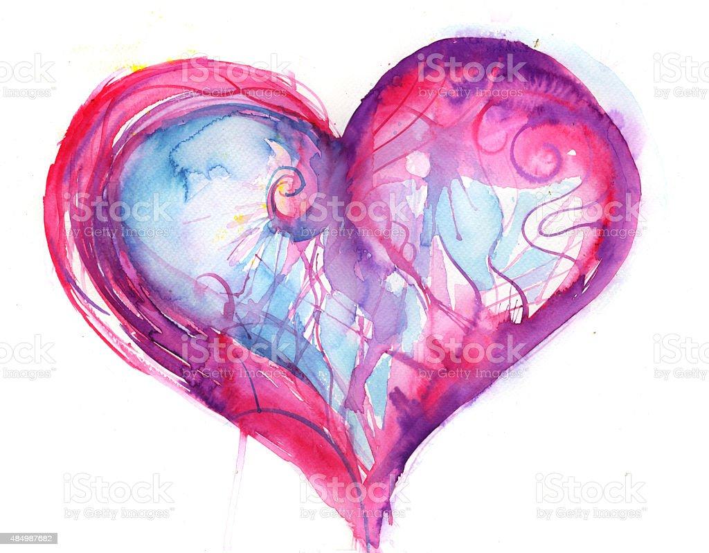suffering heart vector art illustration