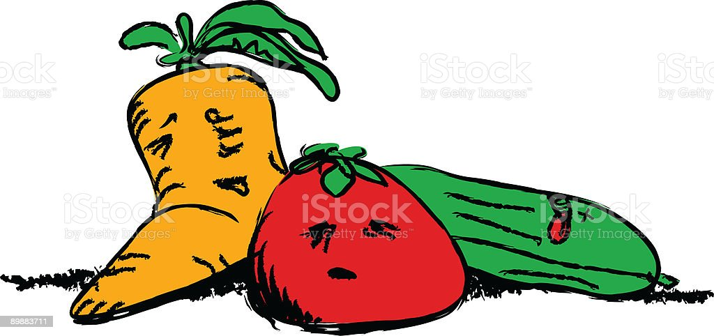 Suffering Vegetables royalty-free stock vector art