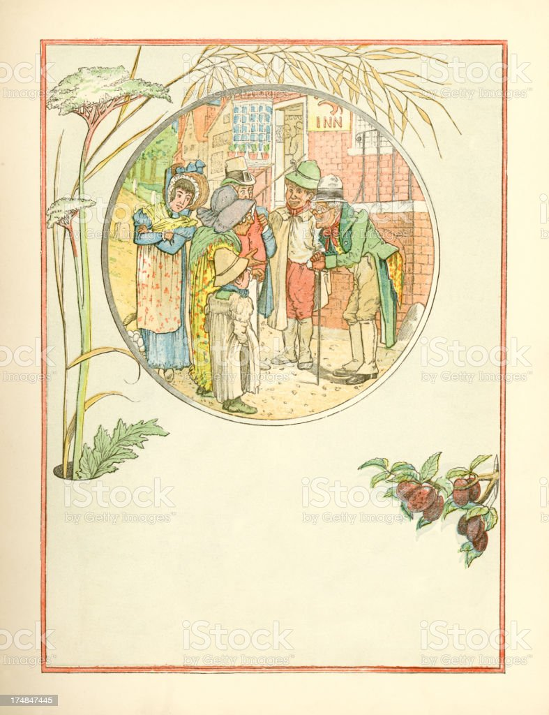 Suffolk villagers chatting (Victorian illustration) royalty-free stock vector art