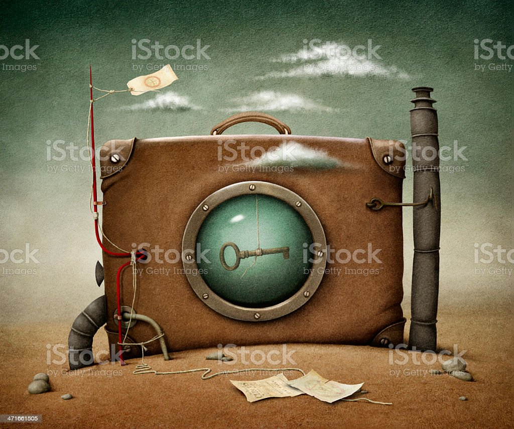 Suitcase in desert vector art illustration