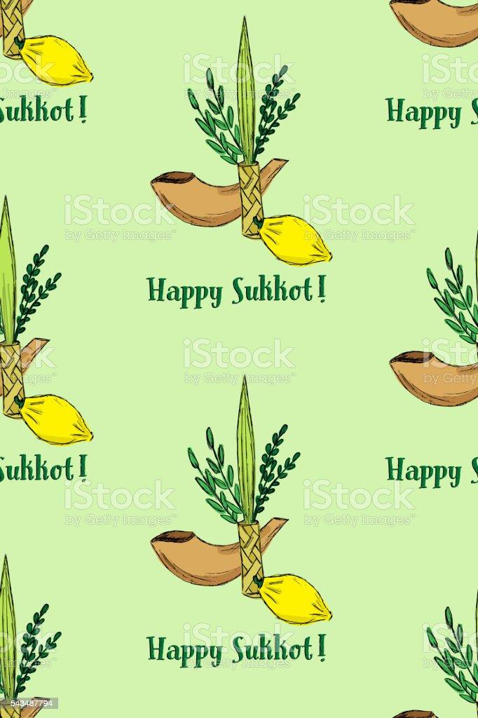 Sukkot seamless pattern vector art illustration