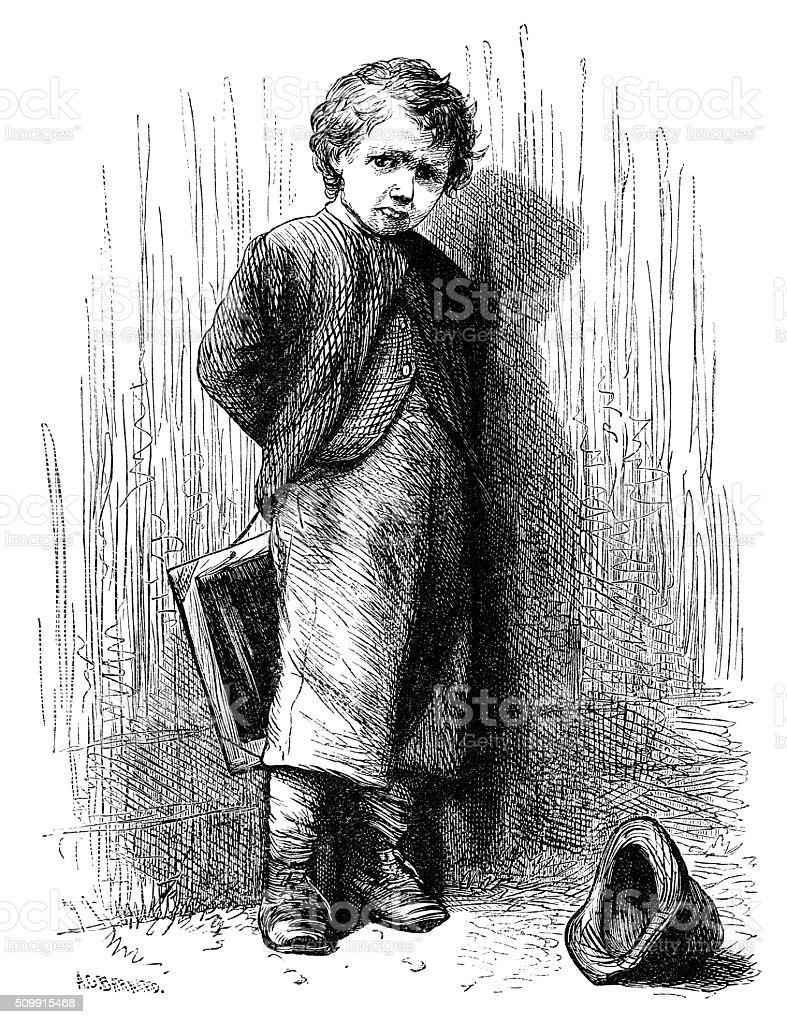 Sulky Victorian schoolboy vector art illustration
