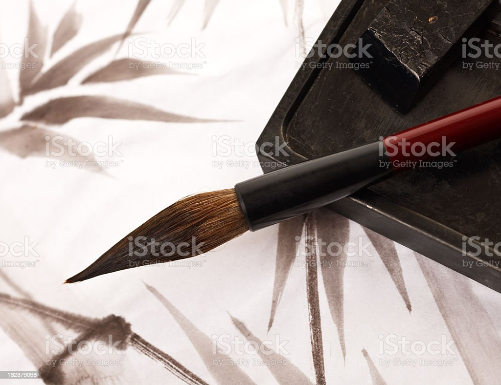 Sumi-e brush over drawing royalty-free stock vector art