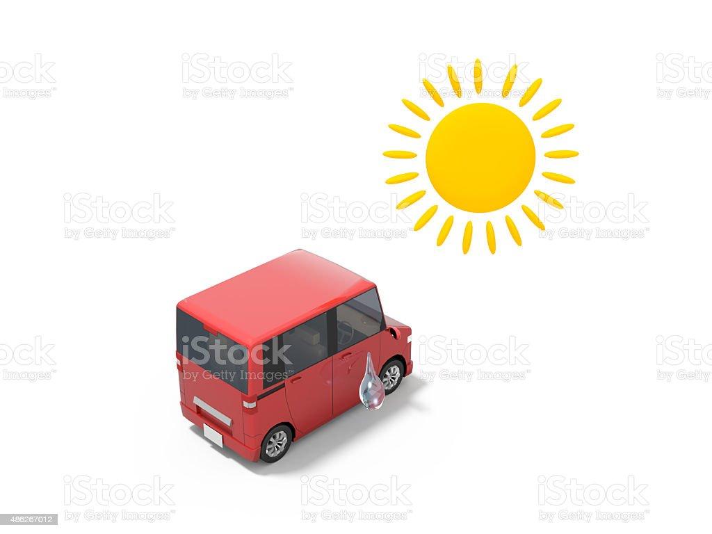 Summer and Car vector art illustration
