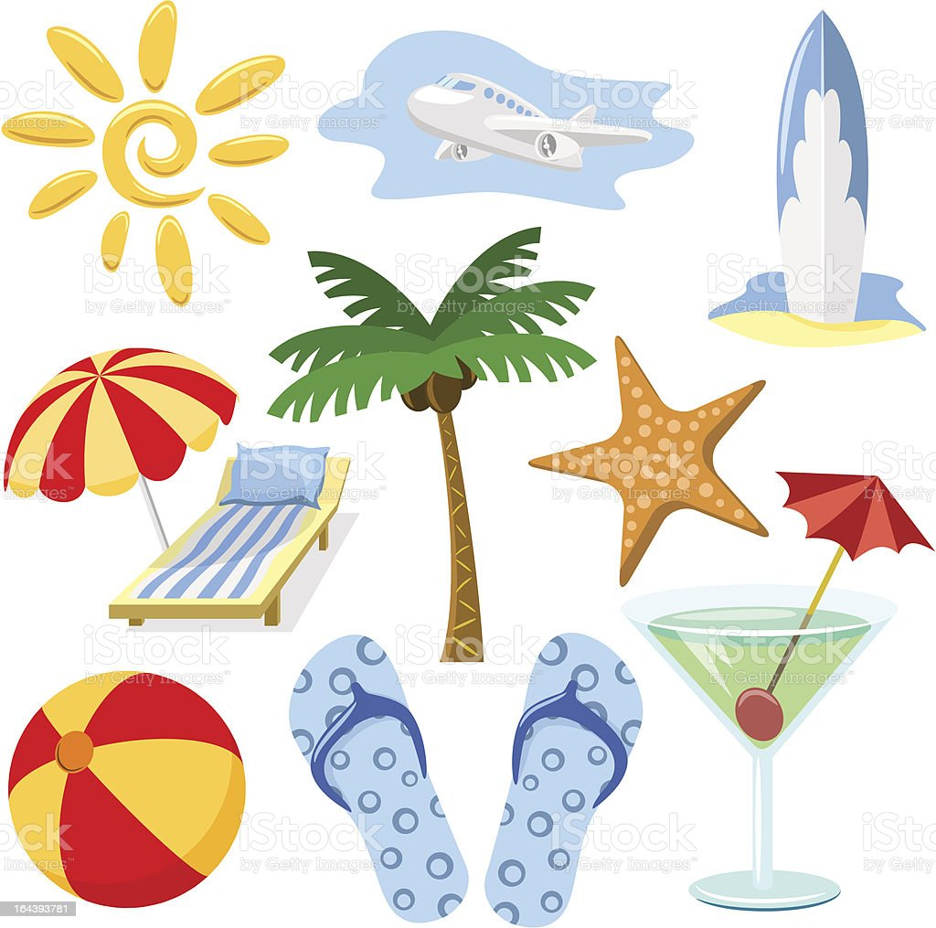 Summer and travel symbols royalty-free stock vector art