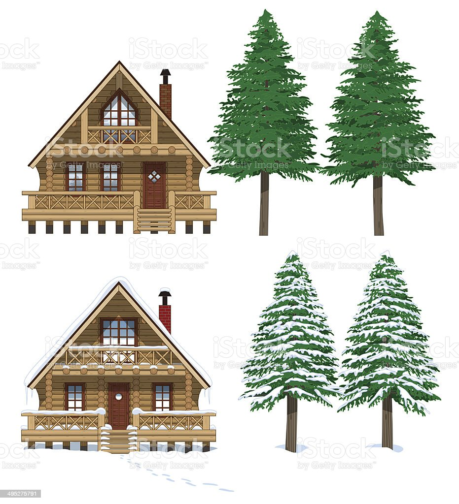 Summer and winter log house vector art illustration