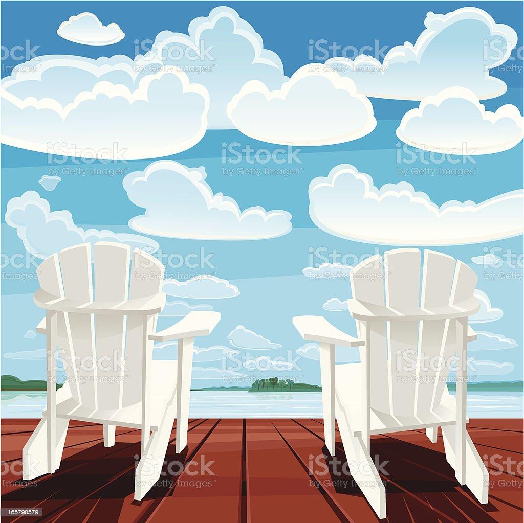 Summer Background (Muskoka Chairs) vector art illustration