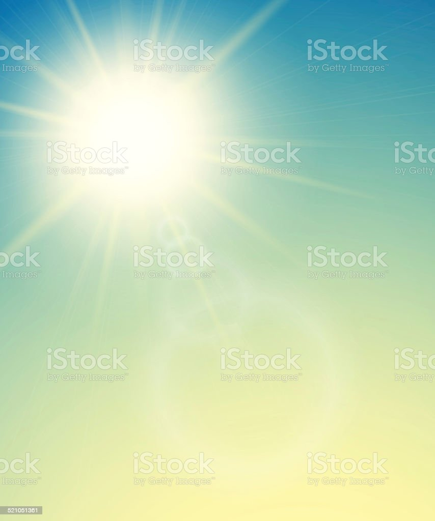 Summer background, summer sun with lens flare vector art illustration