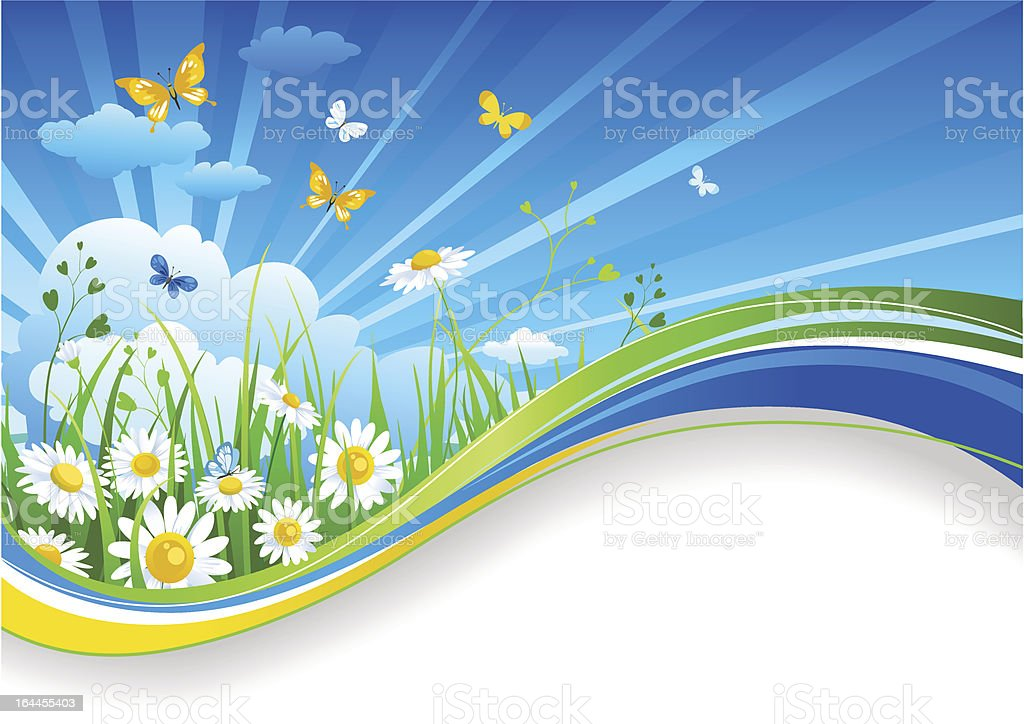Summer banner with chamomiles and clouds royalty-free stock vector art