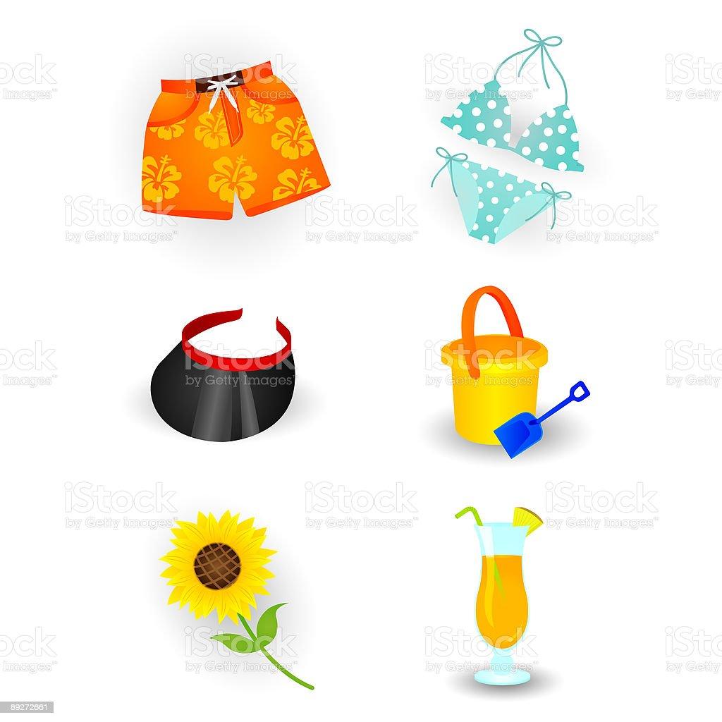 Summer beach item -part3 vector art illustration