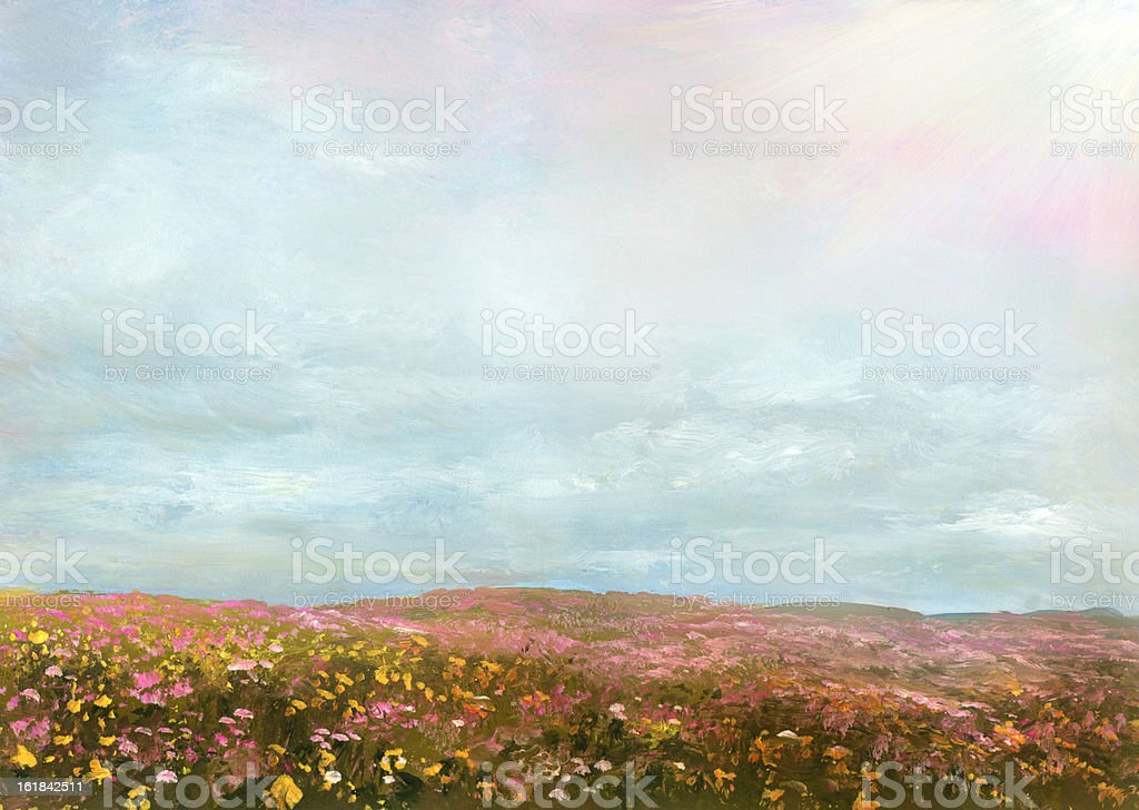 summer blossoming meadow royalty-free stock vector art