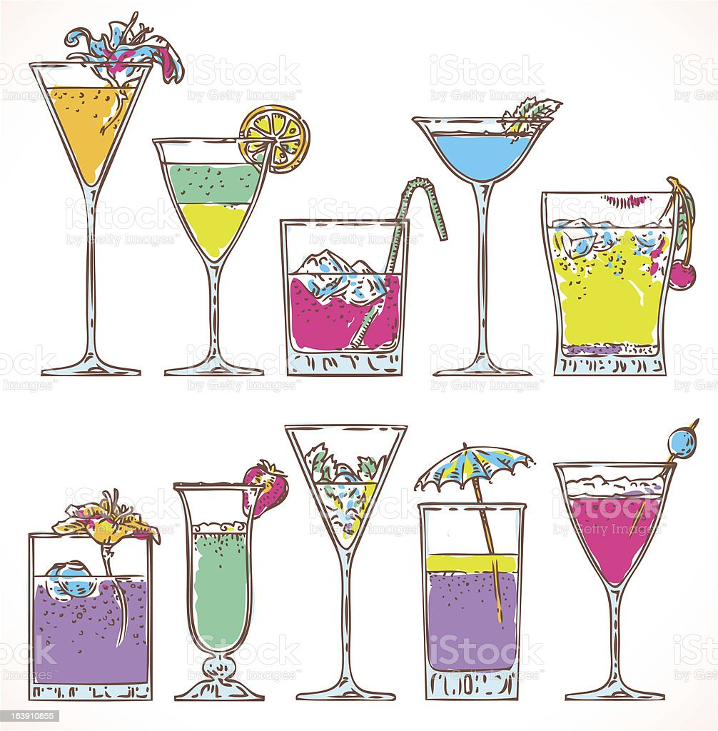 summer cocktail set royalty-free stock vector art