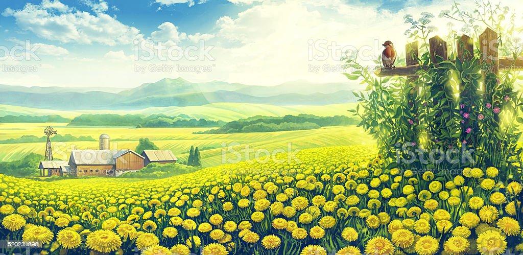 Summer countryside landscape. vector art illustration