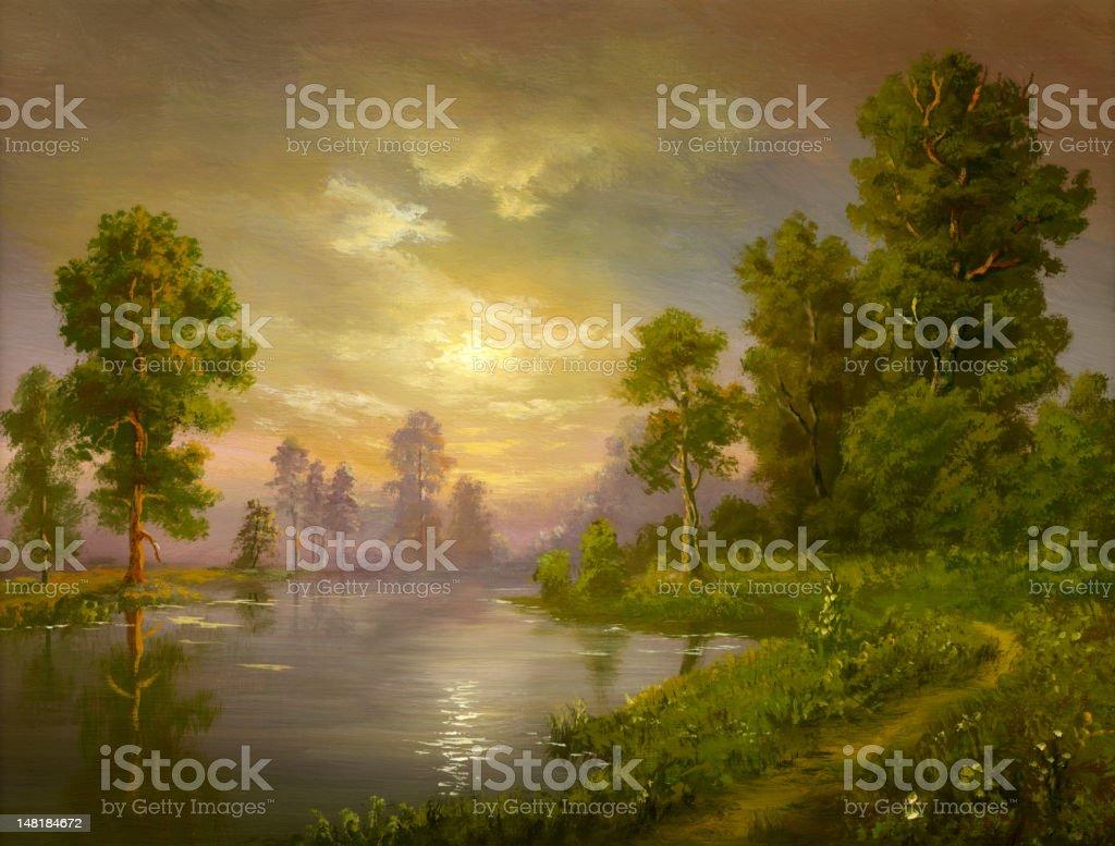summer evening vector art illustration