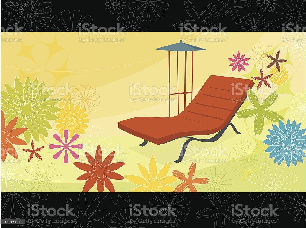 Summer Flower Chaise Lounge (Vector) vector art illustration
