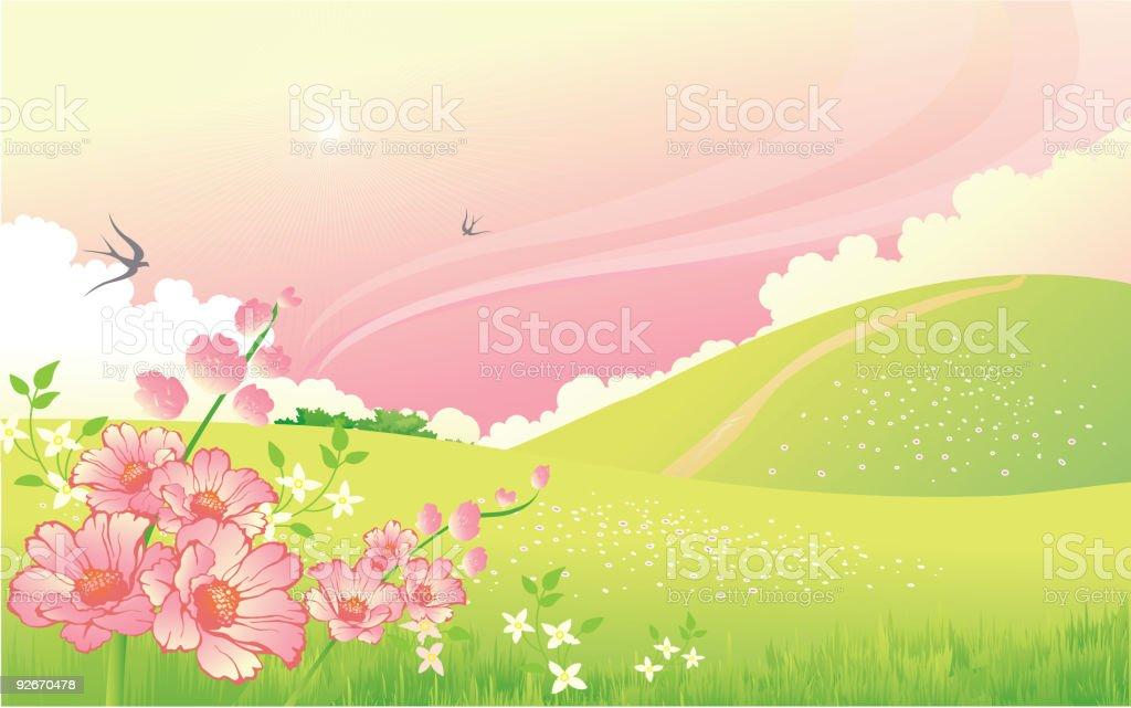 Summer  flower landscape royalty-free stock vector art