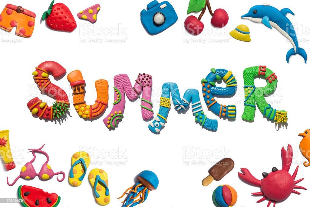 Summer handmade plasticine poster design. vector art illustration