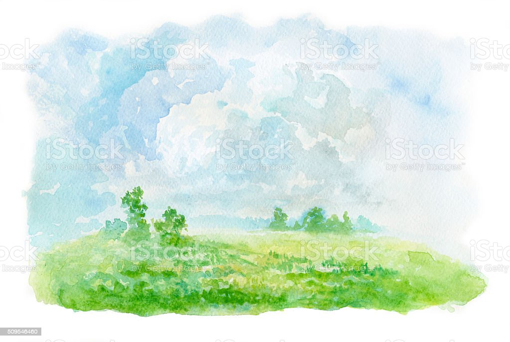 summer landscape, watercolor painting vector art illustration