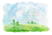 summer landscape, watercolor painting