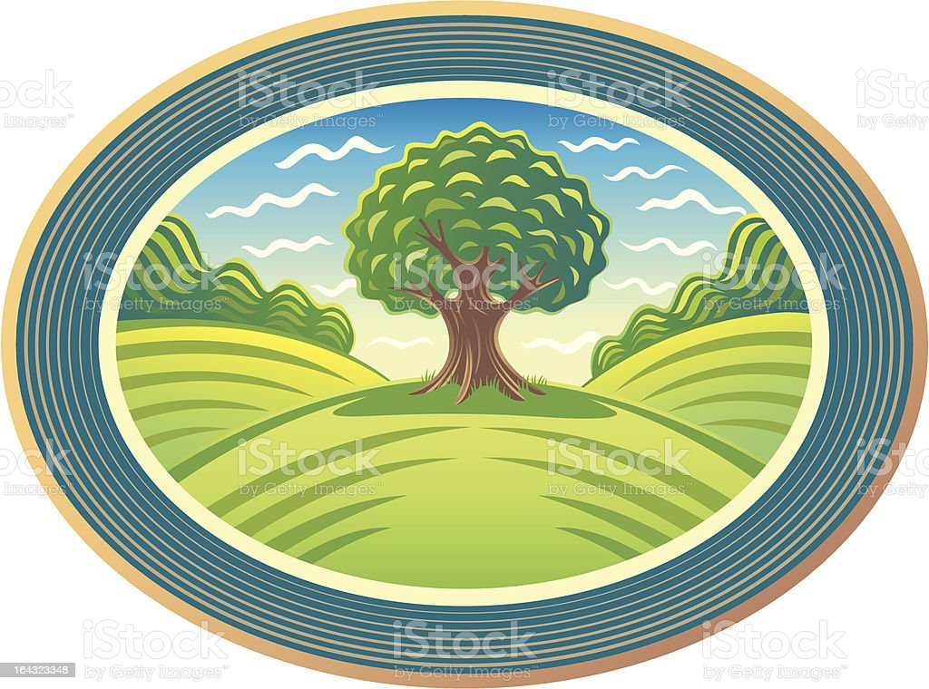 Summer landscape with a tree in the frame. vector art illustration
