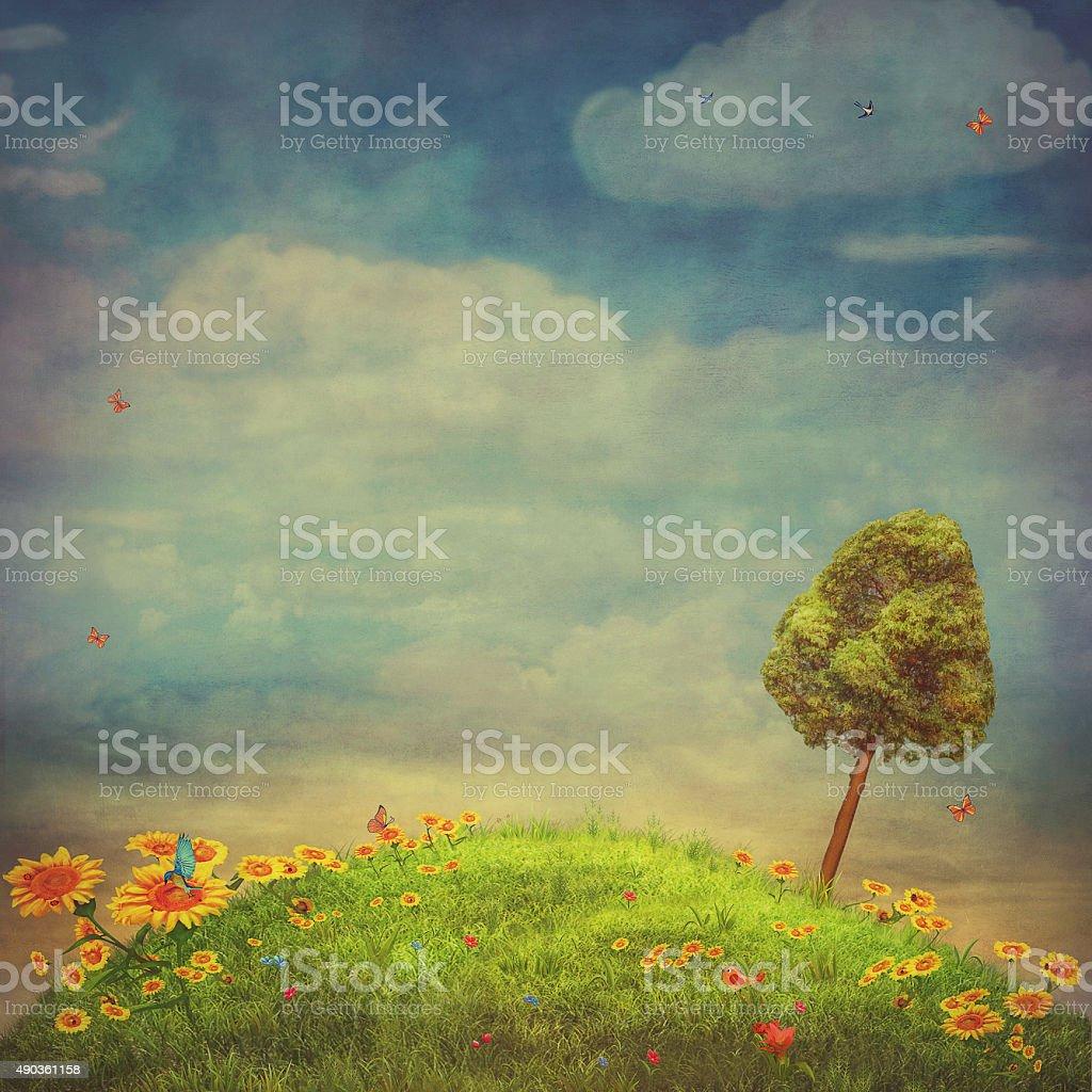 Summer landscape with  butterflies, green field,  sky and sunflowers vector art illustration