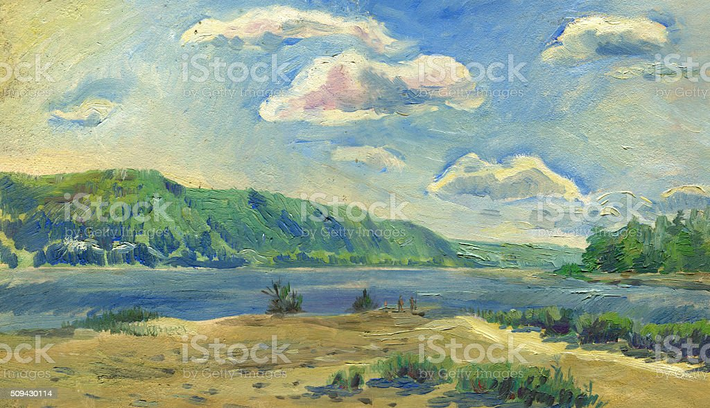 summer landscape with mountain and river vector art illustration