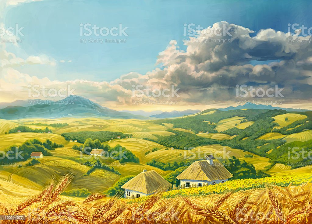 Summer Landscape with wheat royalty-free stock vector art