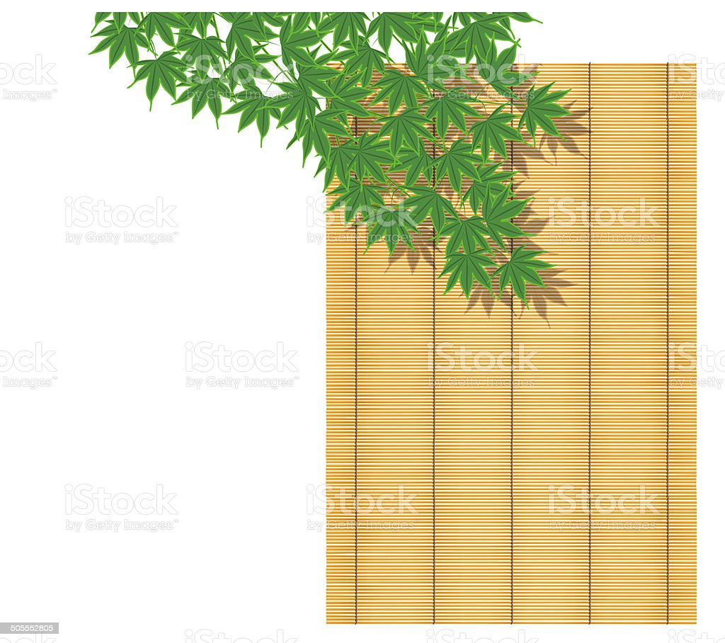 Summer, maple, bamboo blind, Japanese culture, Japanese style vector art illustration