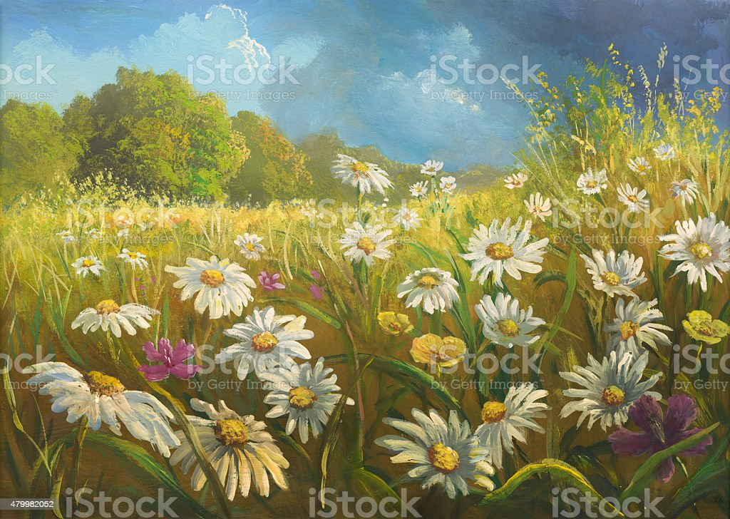 Summer meadow before the storm, painting vector art illustration