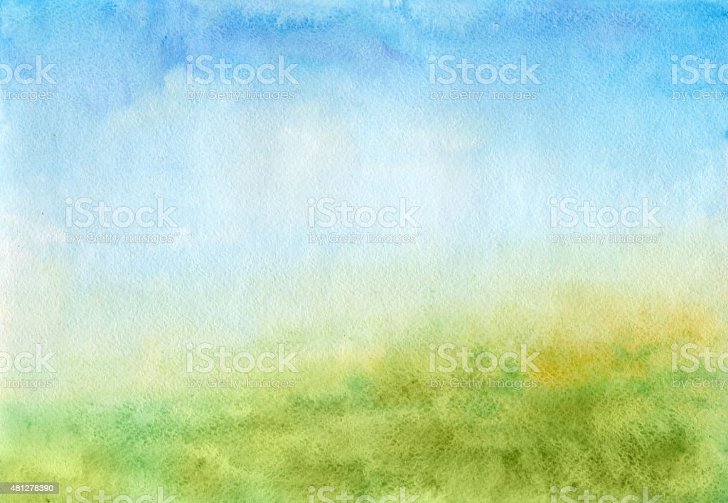 Summer Meadow - watercolor background vector art illustration