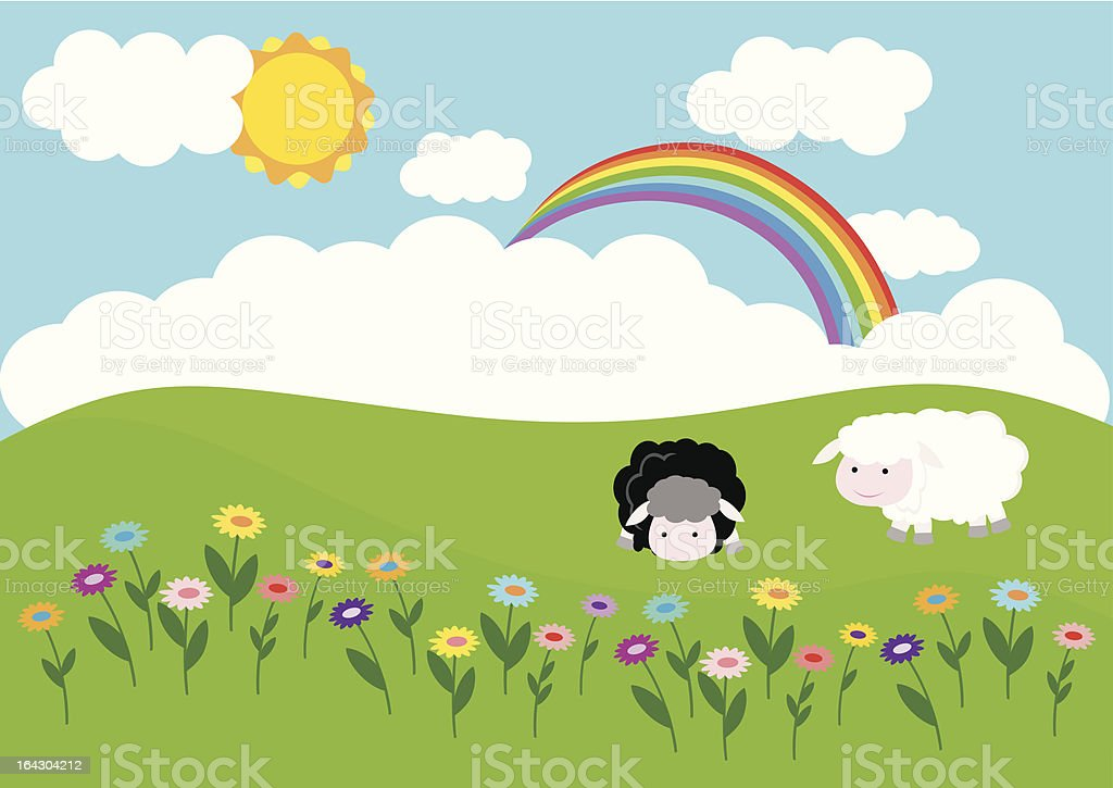 Summer meadow with sheeps and flowers royalty-free stock vector art
