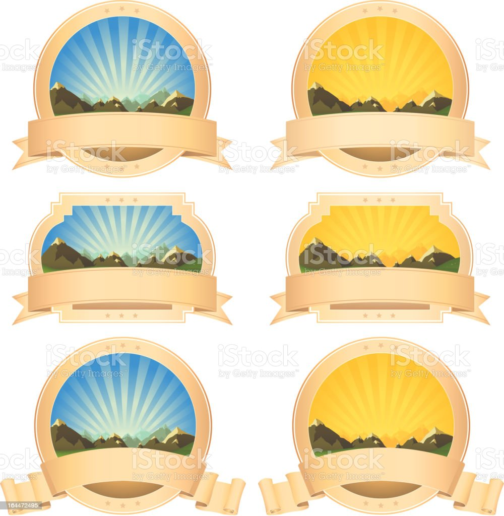 Summer Mountains Banner And Scroll Ribbons royalty-free stock vector art