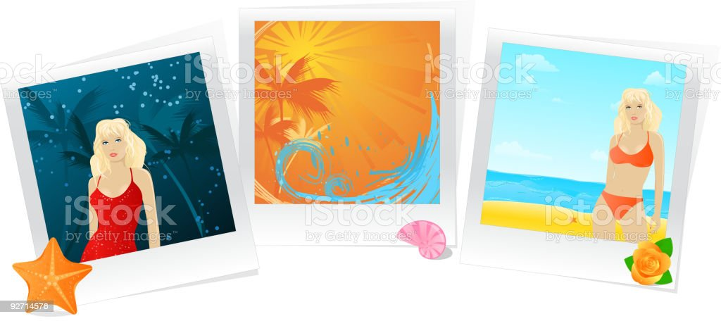 Summer photo memories collage royalty-free stock vector art