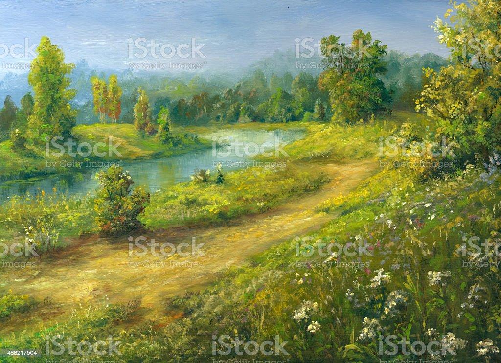 Summer river vector art illustration