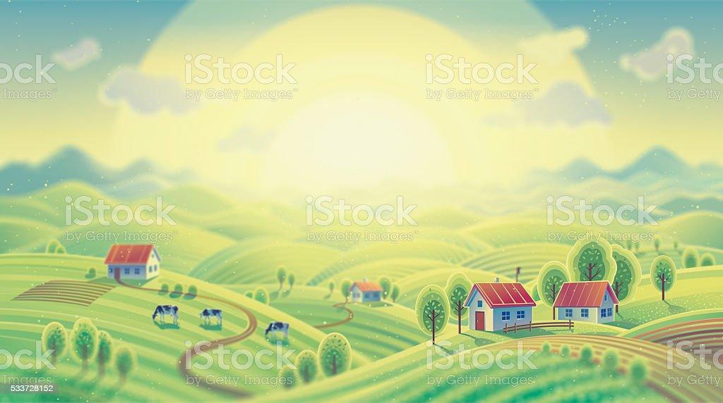 Summer rural landscape. vector art illustration