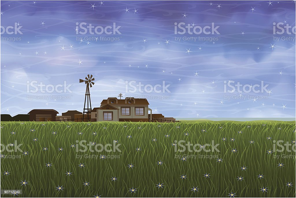 Summer rural landscape - small farm over green meadow royalty-free stock vector art