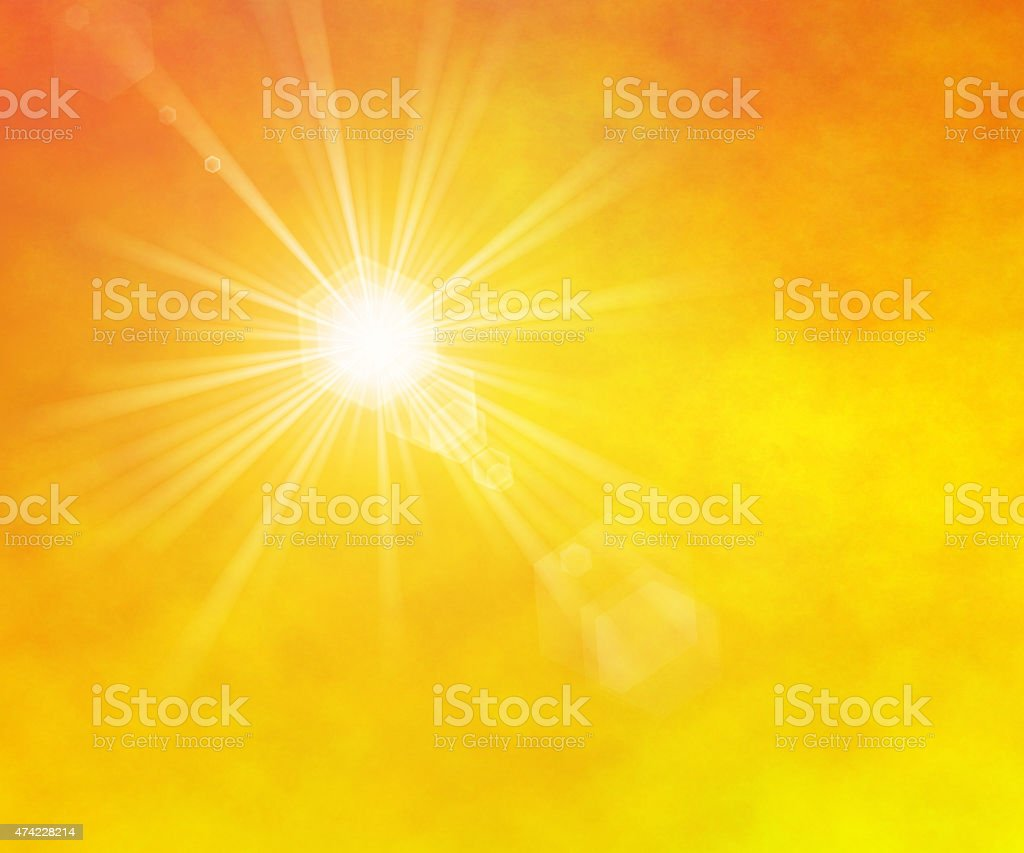 summer sun rays with lens flare stock photo