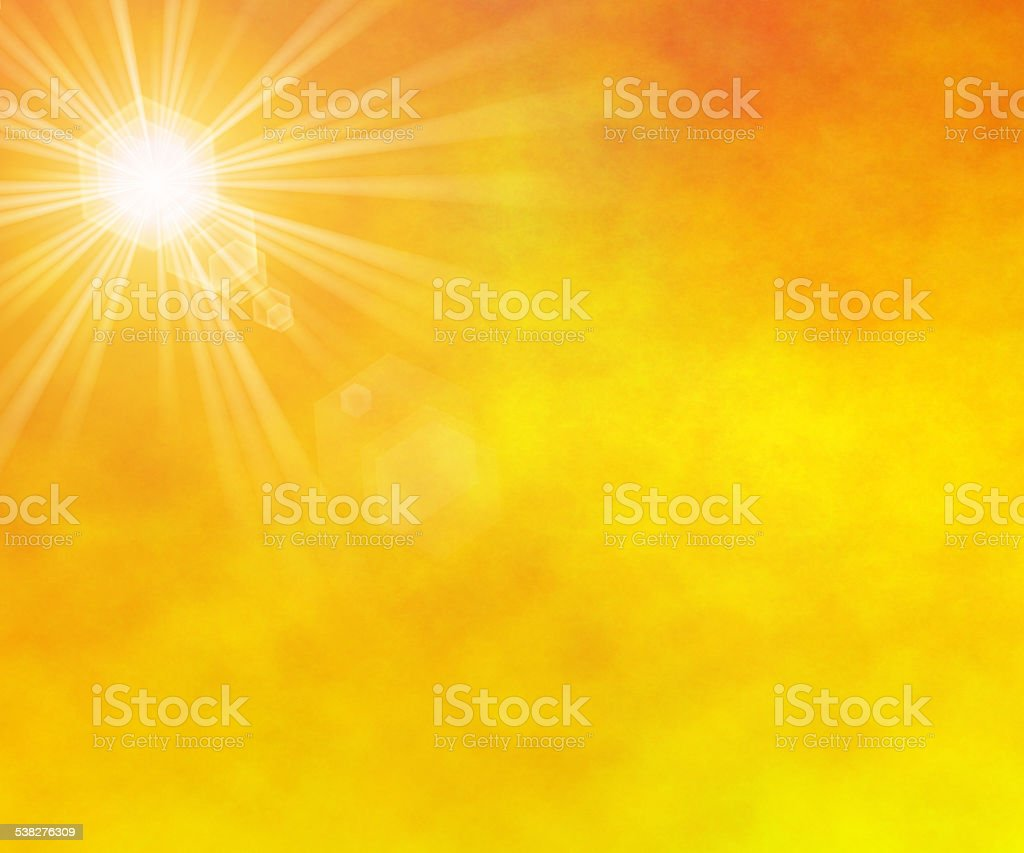 summer sun rays with lens flare vector art illustration